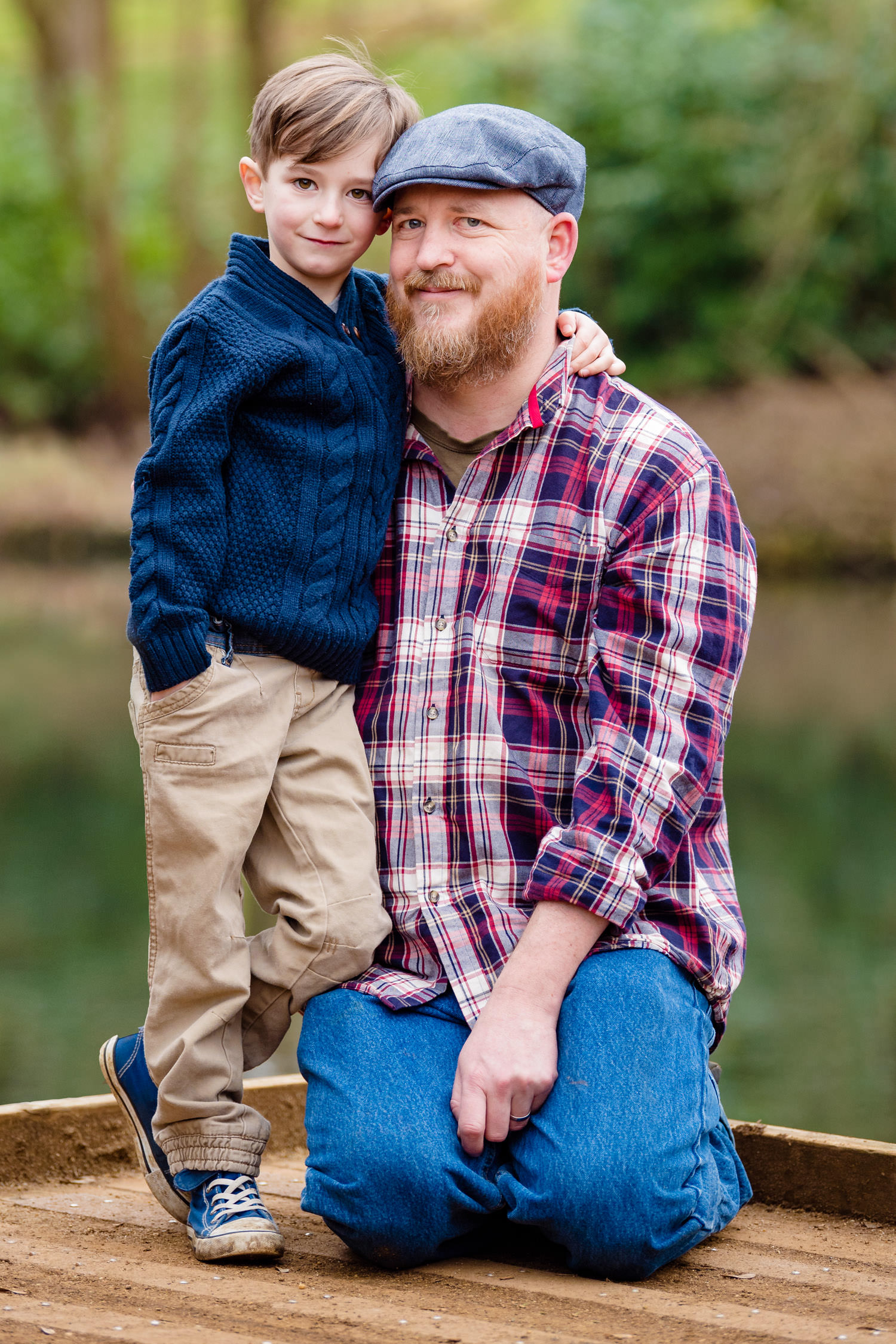 Father and son portrait on deck