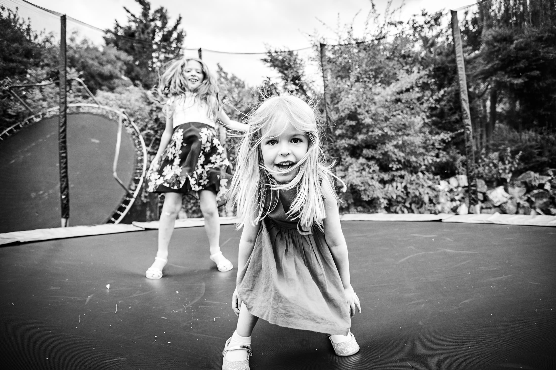 Girls on trampoline