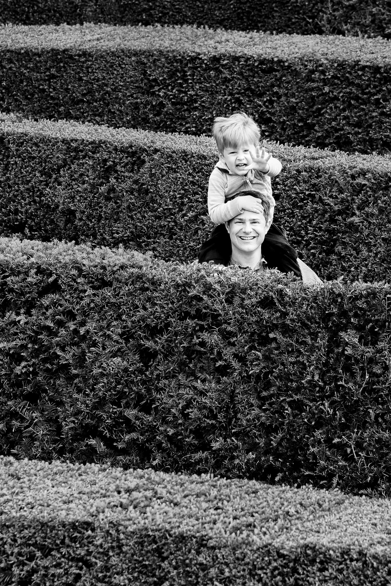 Boy and father lost in maze