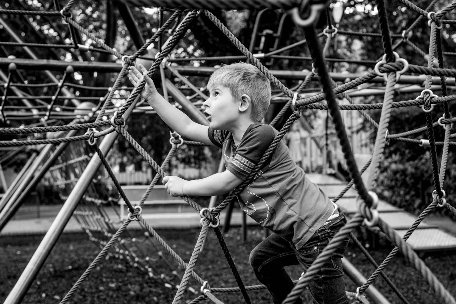 Boy framed by climbing ropes as he climbs