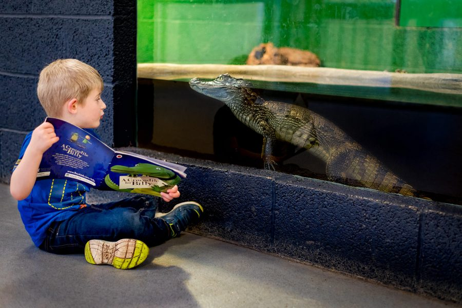 Boy sat on the floor reading a book to a crocodile in a tank