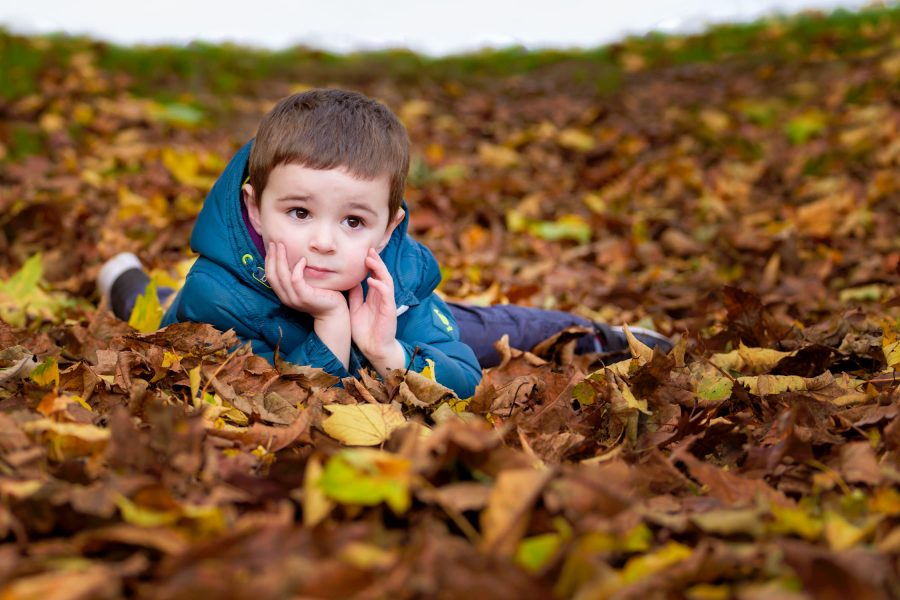 Boy lying in autumnal leaves with thoughtful look