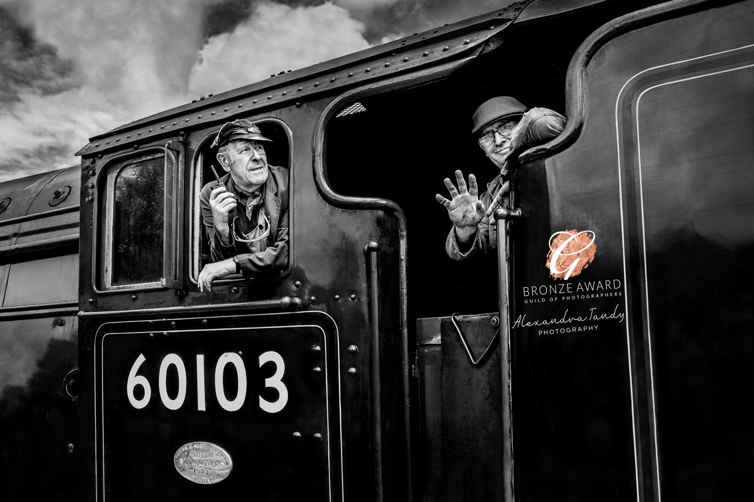 Drivers peering out of Flying Scotsman Award Winning image