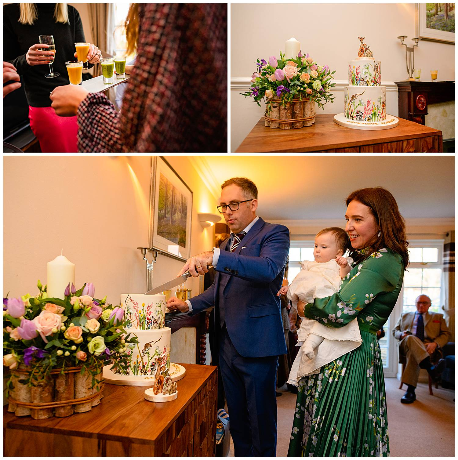 Montage of photos showing party guests selecting food and christening cake being cut by baby's father