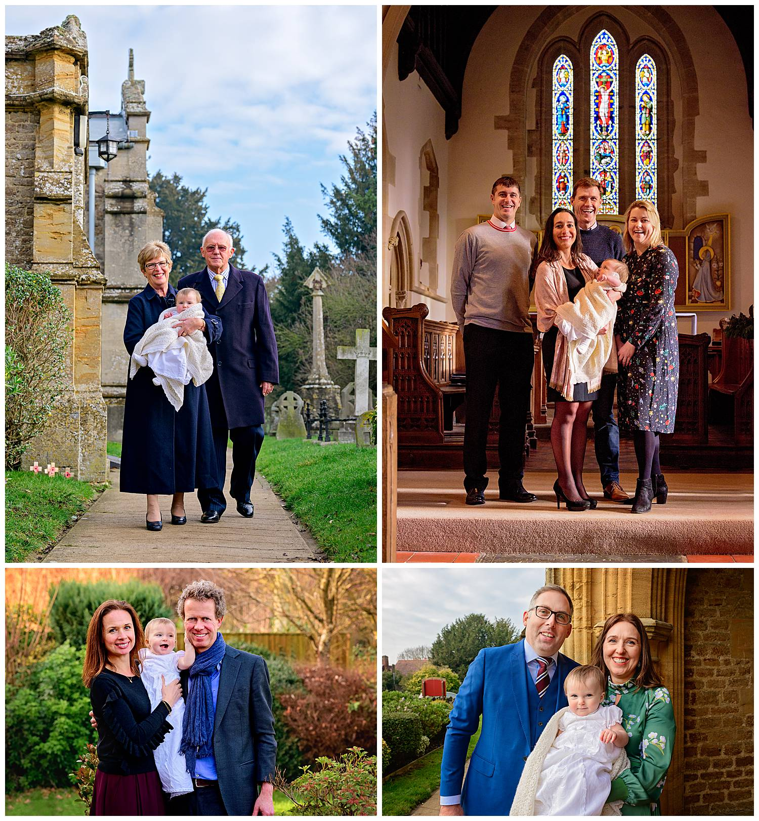 Montage of family group shots at Christening