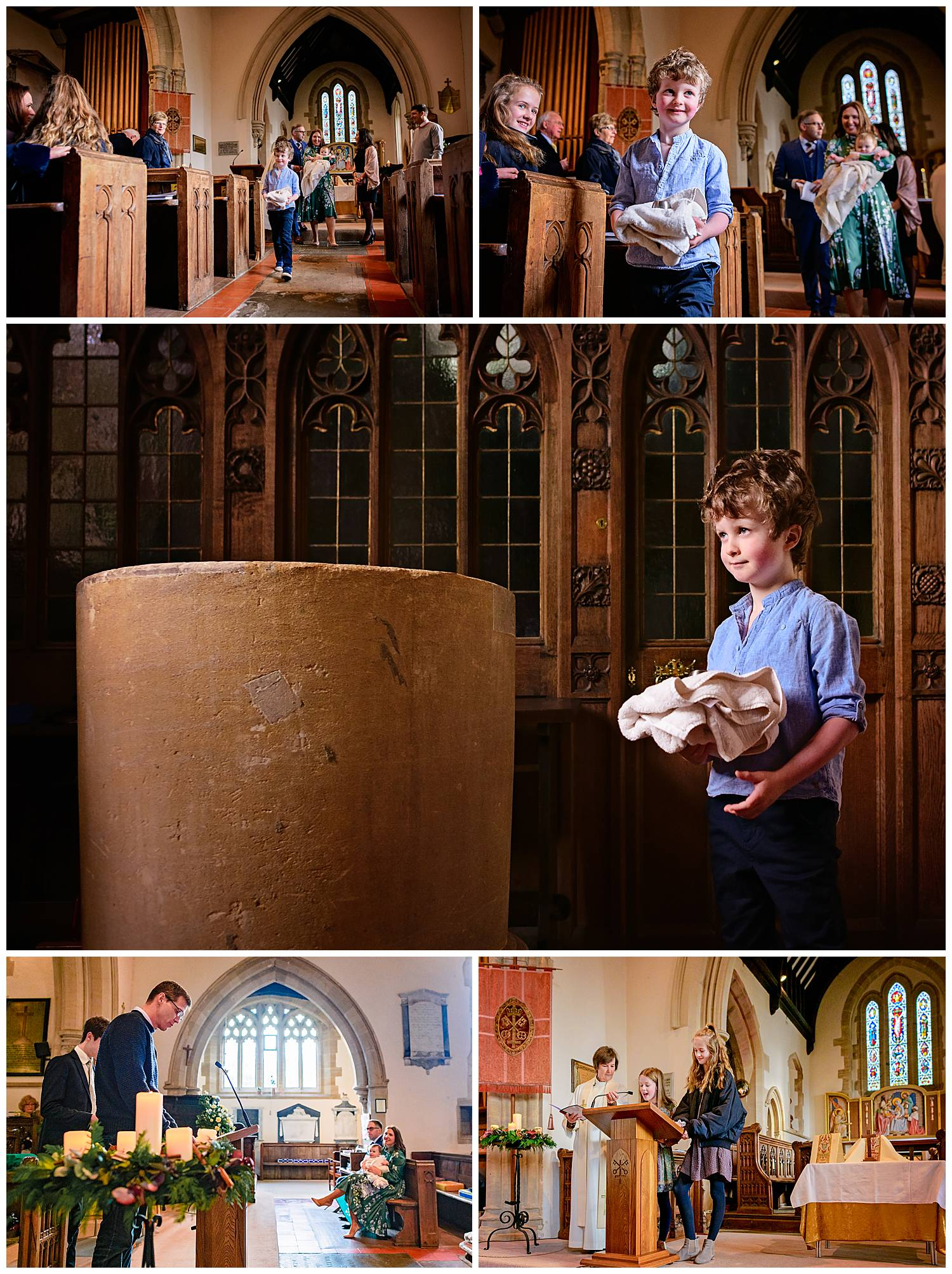 Collage of images of small boy carrying christening towel to the church font and cousins giving a reading