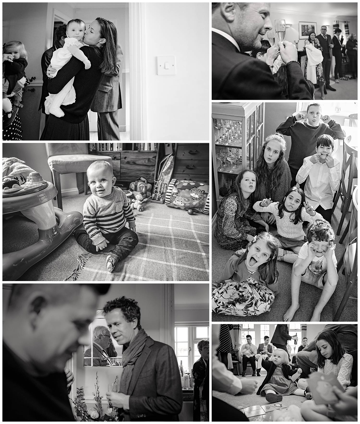 Collage of black and white photos of Christening Party