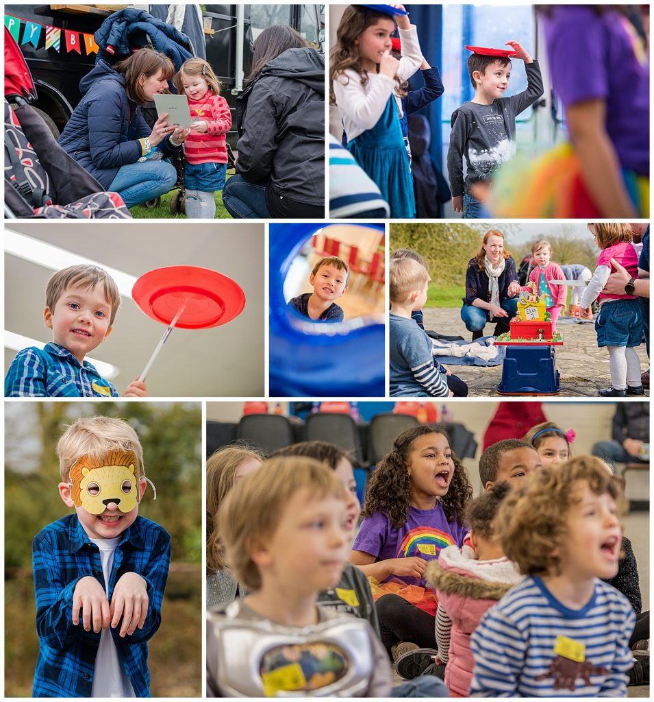 Montage of photos of children having fun at a children's Birthday party