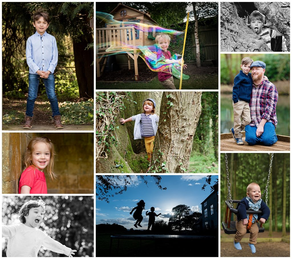 Montage of family photographs by Family Photographer Alexandra Tandy Photography