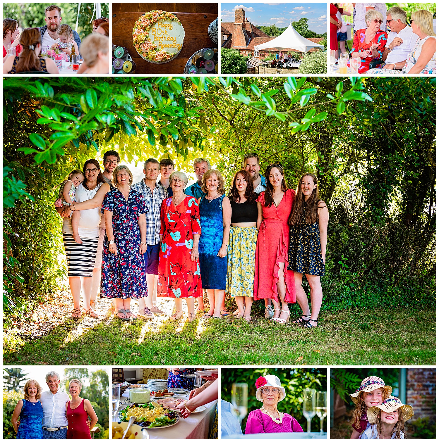 Montage of party images by Party Photographer Alexandra Tandy Photography. Taken at an 80th Birthday party
