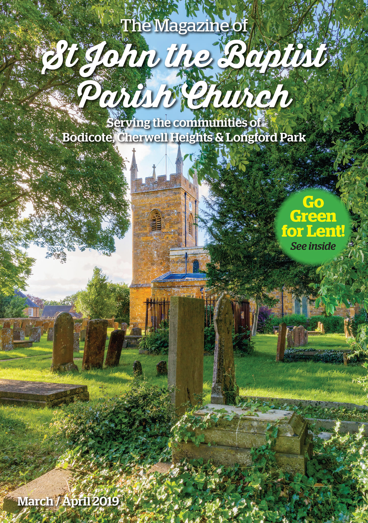 Front cover of Bodicote parish Magazine featuring the village church