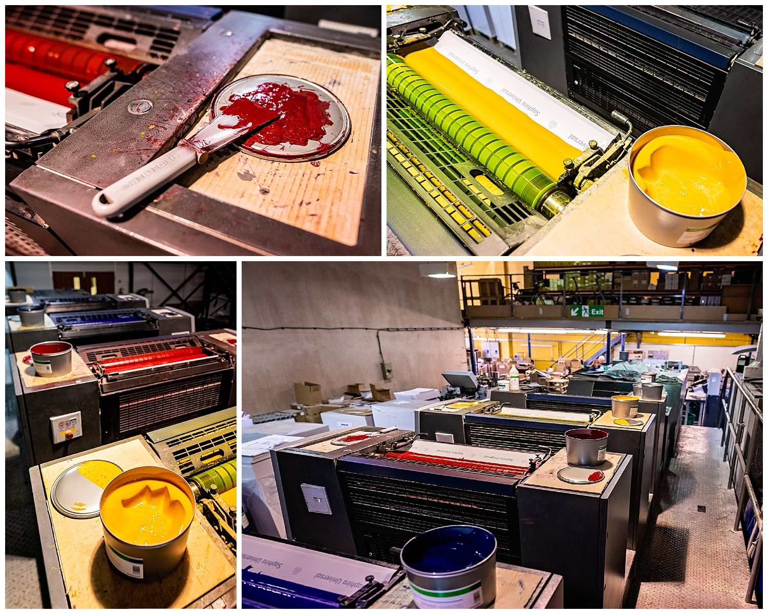 Montage of shots of printer's ink pots sat on the printing press