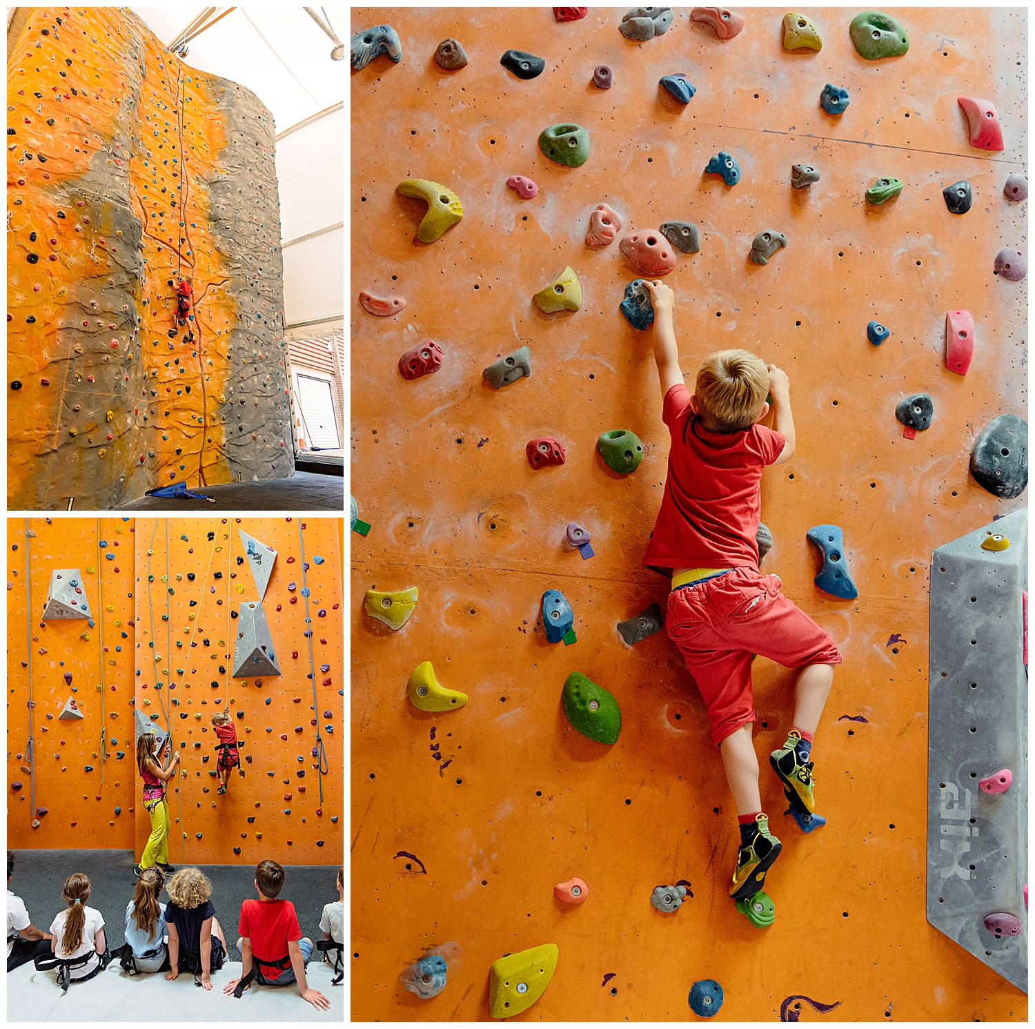 Montage of images of a child climbing up a bright orange climbing wall
