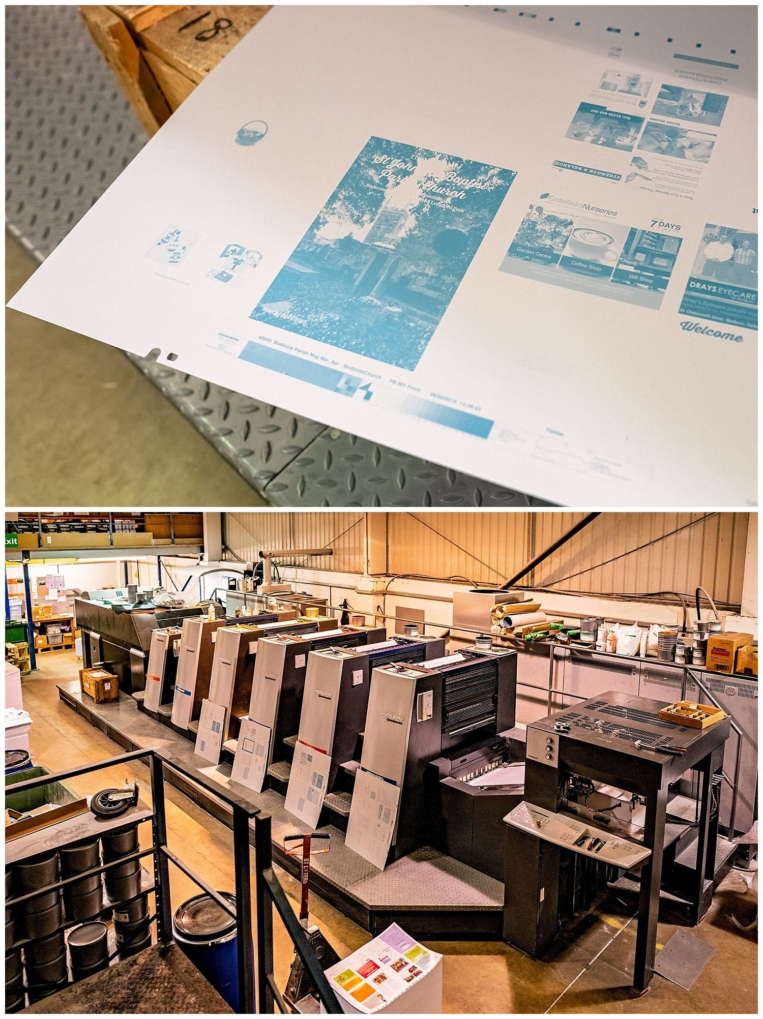 Printing plates pictured alongside a giant printing press