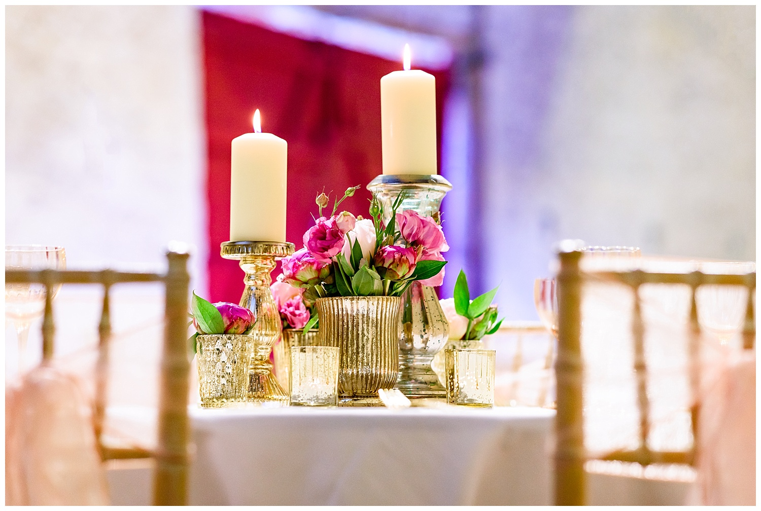 Gold wedding table accesories photographed by Alexandra Tandy Photography
