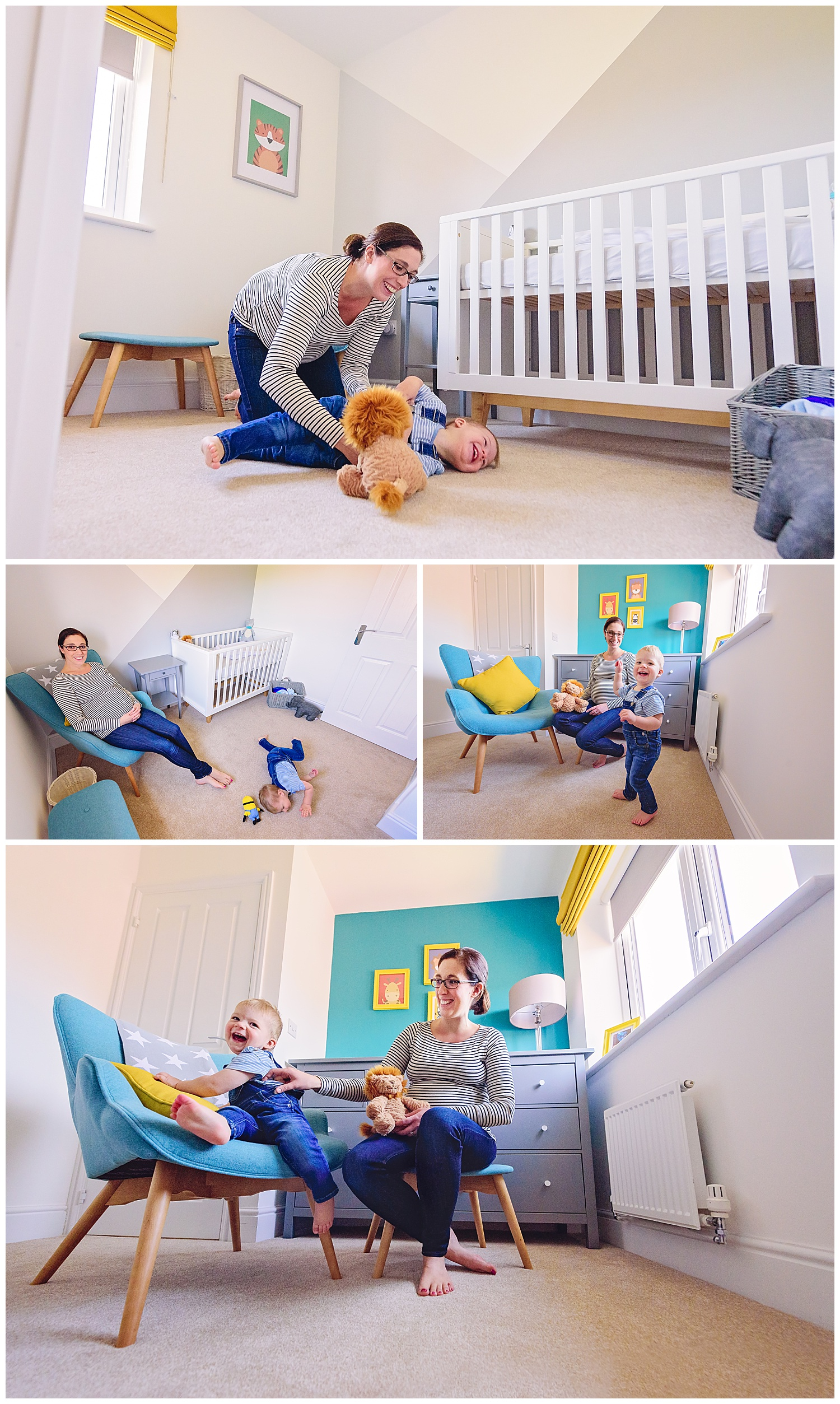 Montage of images of pregnant mother and toddler son playing in new baby's nursery