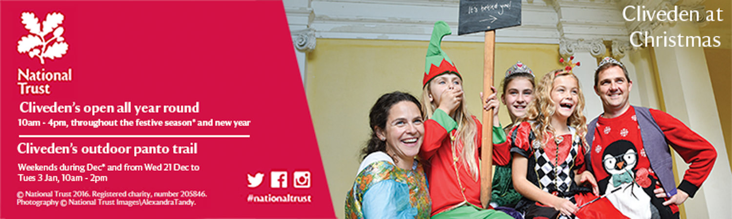Email footer from the national Trust featuring an image of a family of five dressed in pantomime clothes