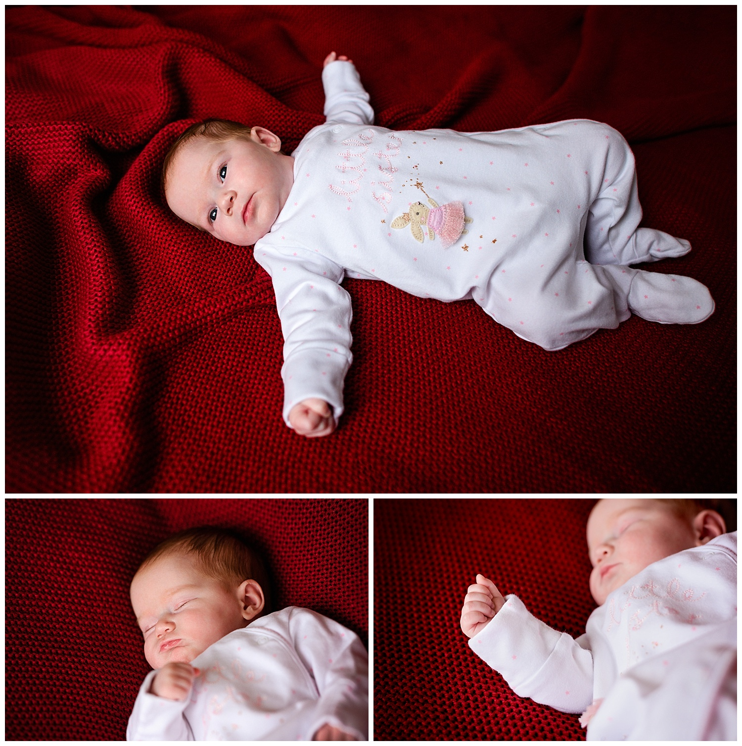 Montage of images from a newborn photo shoot