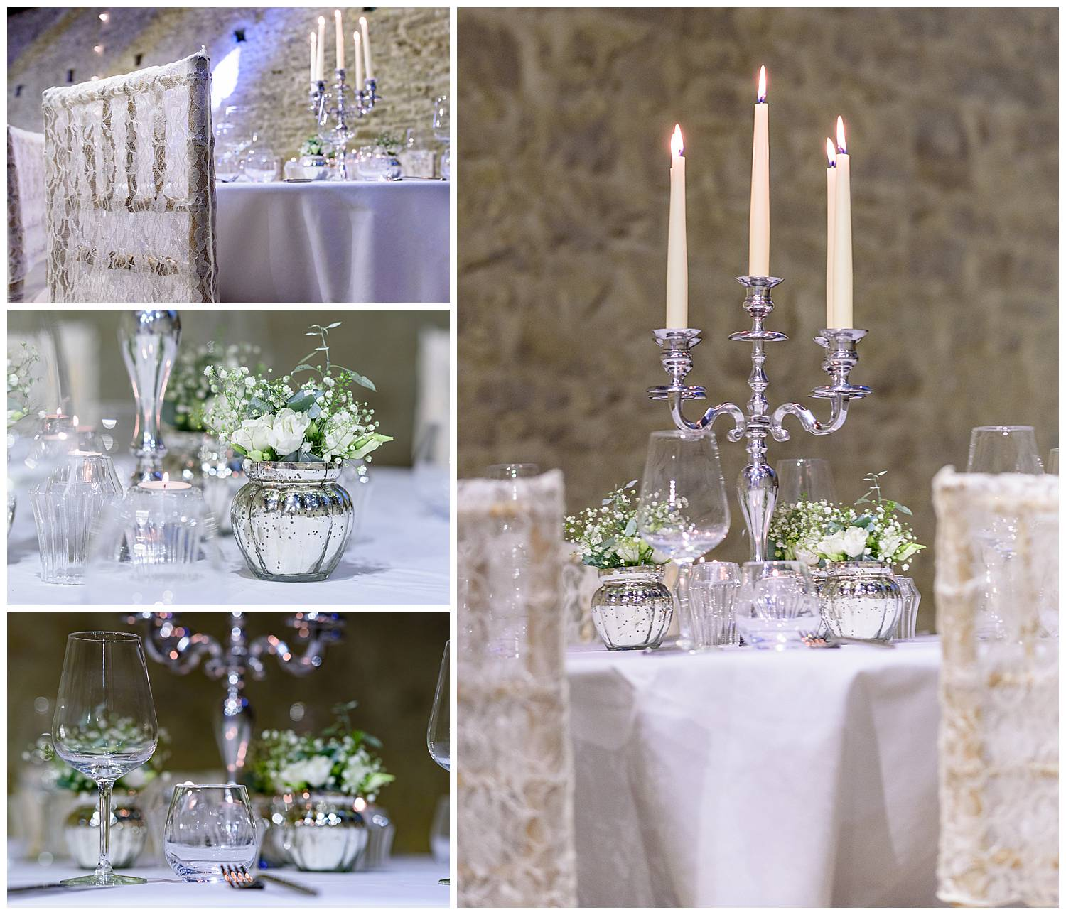 Product photography of silver and white table accessories for a wedding breakfast
