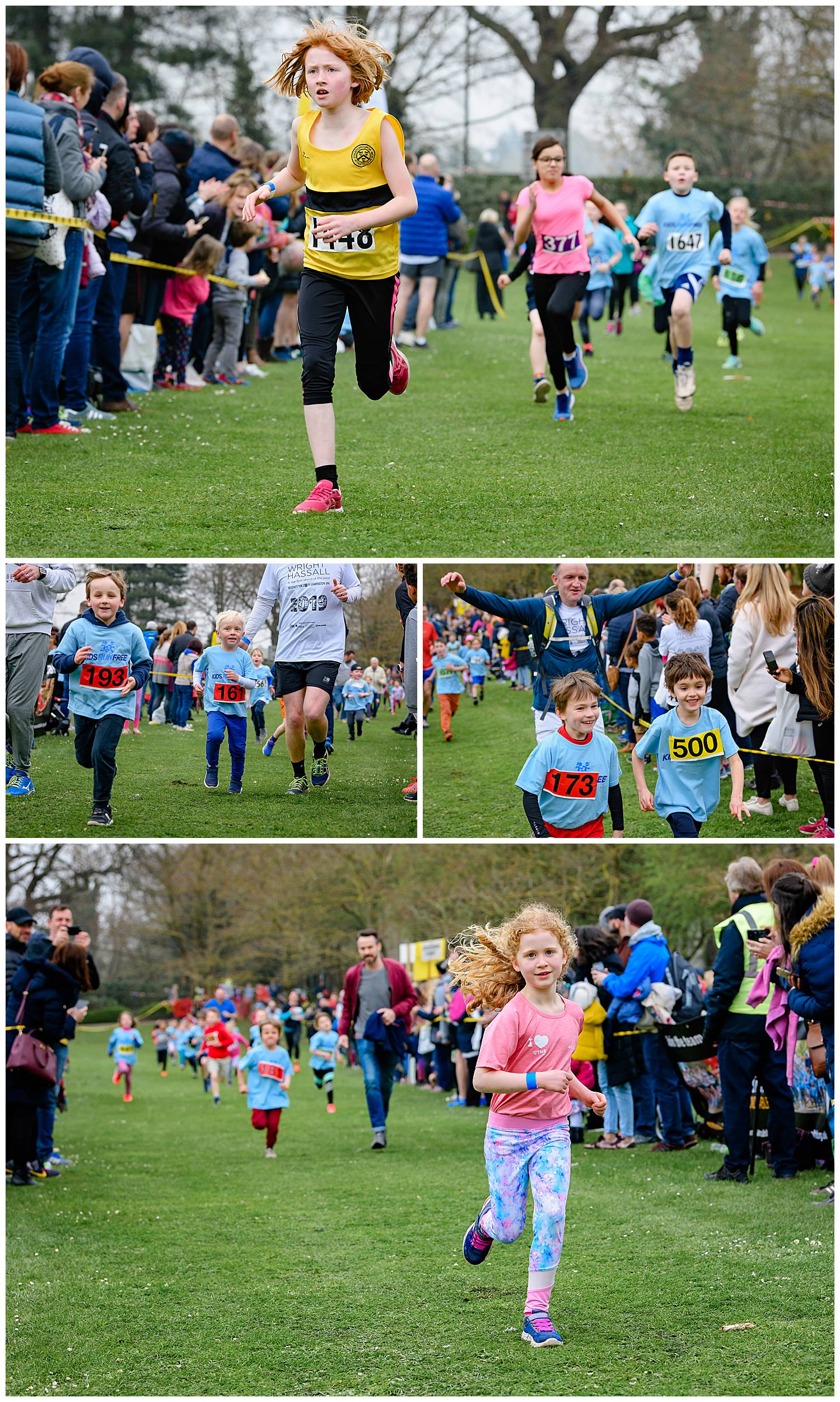 Montage of images of children racing to the finish line of a 1k fun run