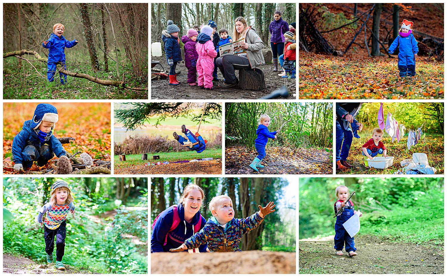 Montage of images of forest school activities from rope swings to tree climbing and orienteering.