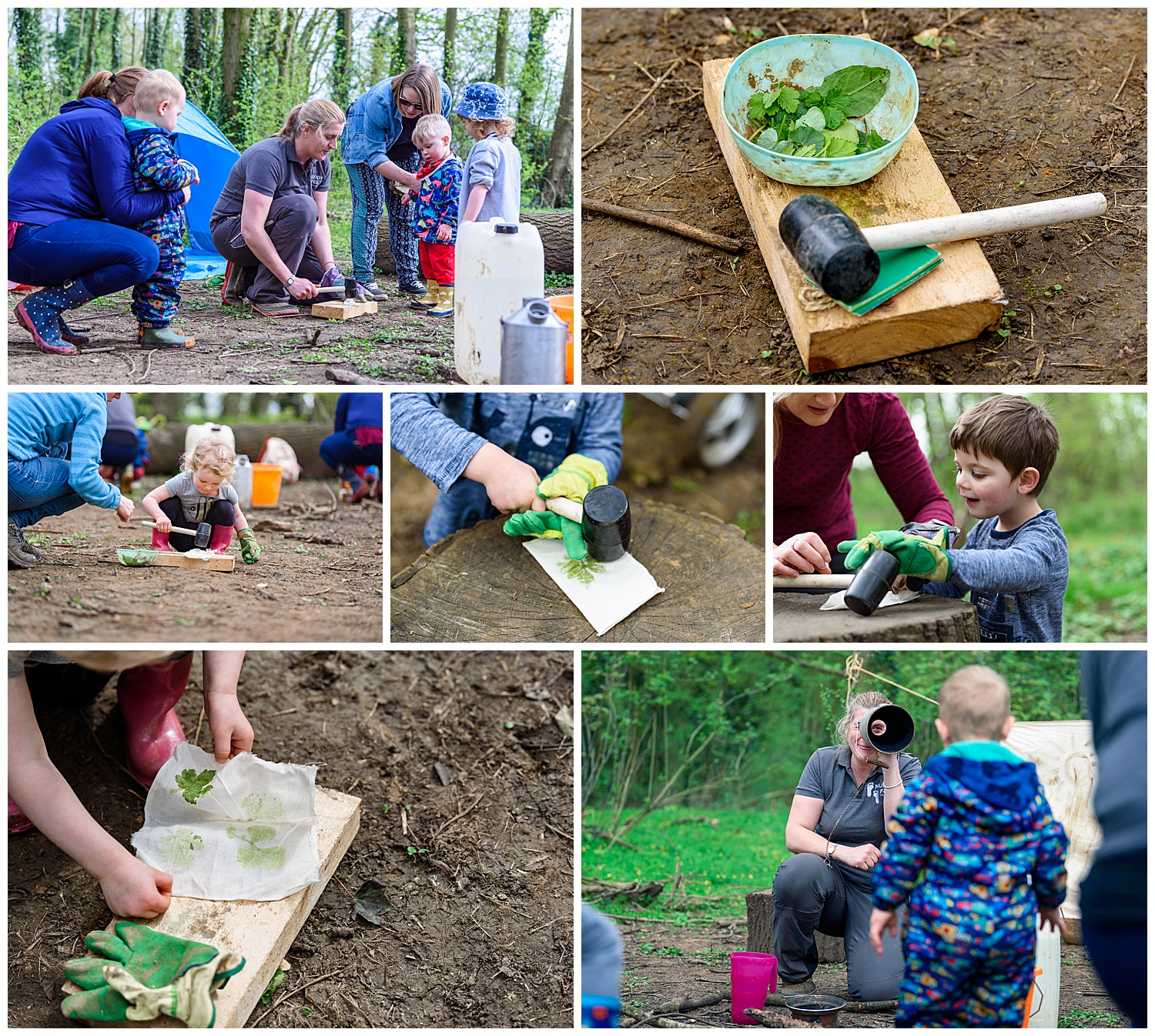 Montage of images of children leaf bashing at a forest school