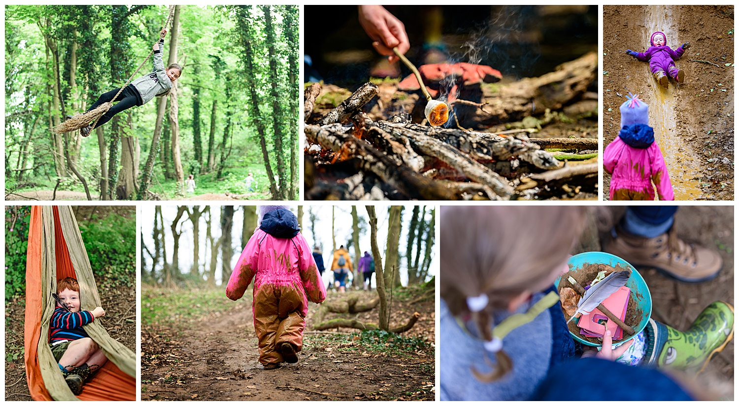 Montage of photos taken by a forest school photographer showing campfires, mud slides and hammocks