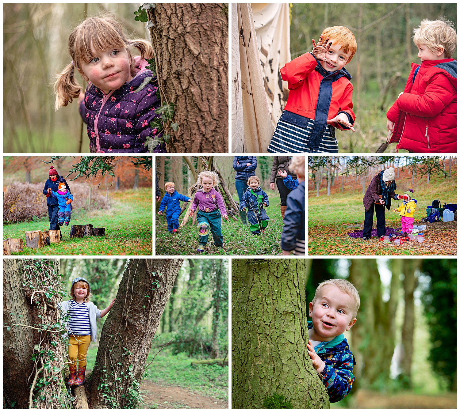 Portrait images of children playing at forest school taken by DBS approved forest school photographer Alexandra Tandy Photography