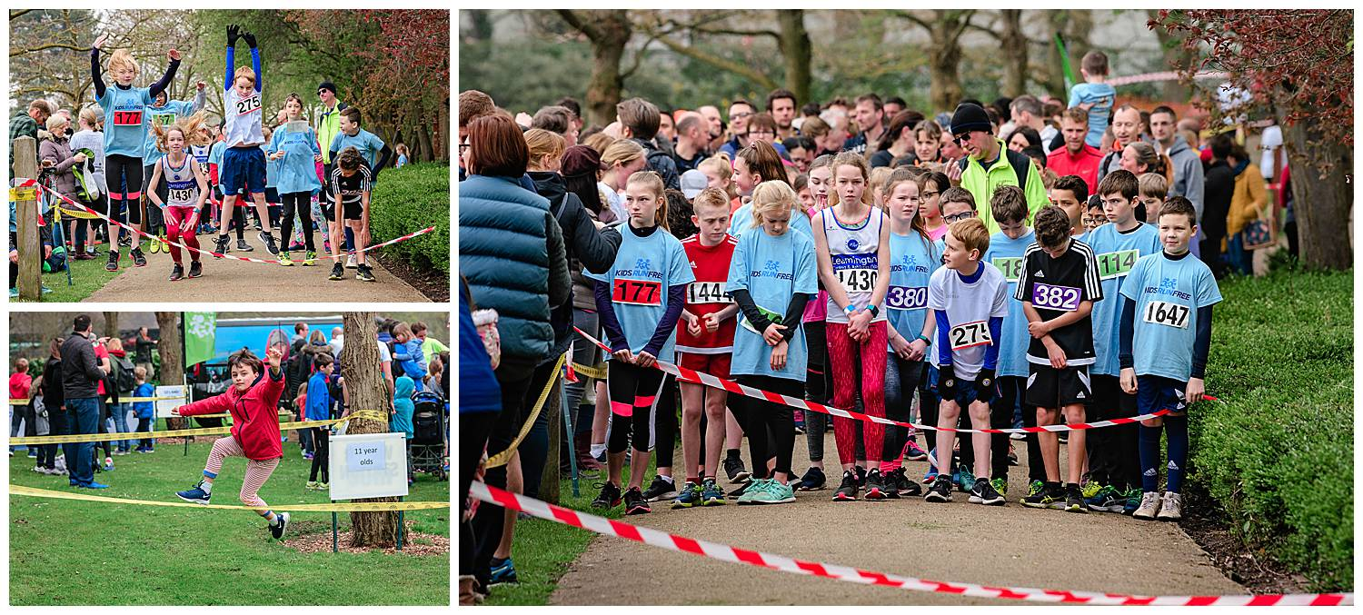 Montage of images by Alexandra Tandy Photography of 300 children preparing to run a fun run