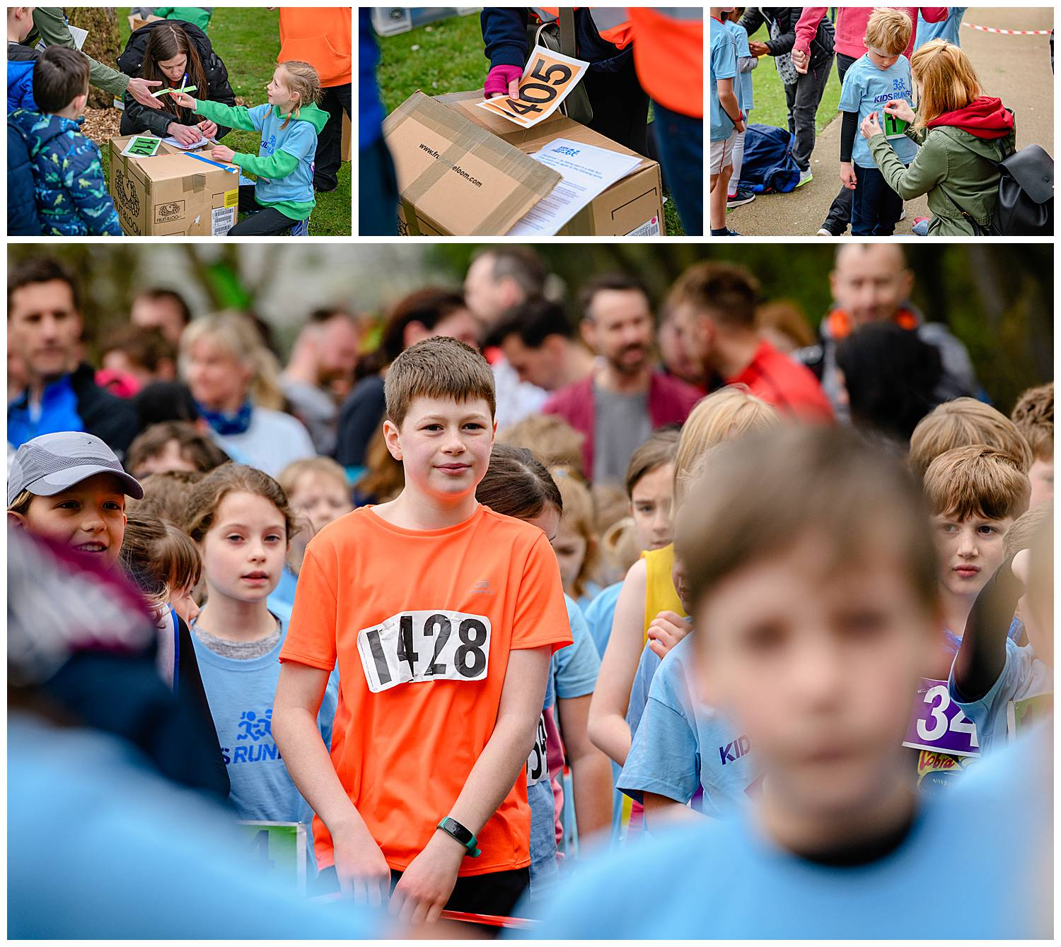 Montage of images of children preparing for a fun run