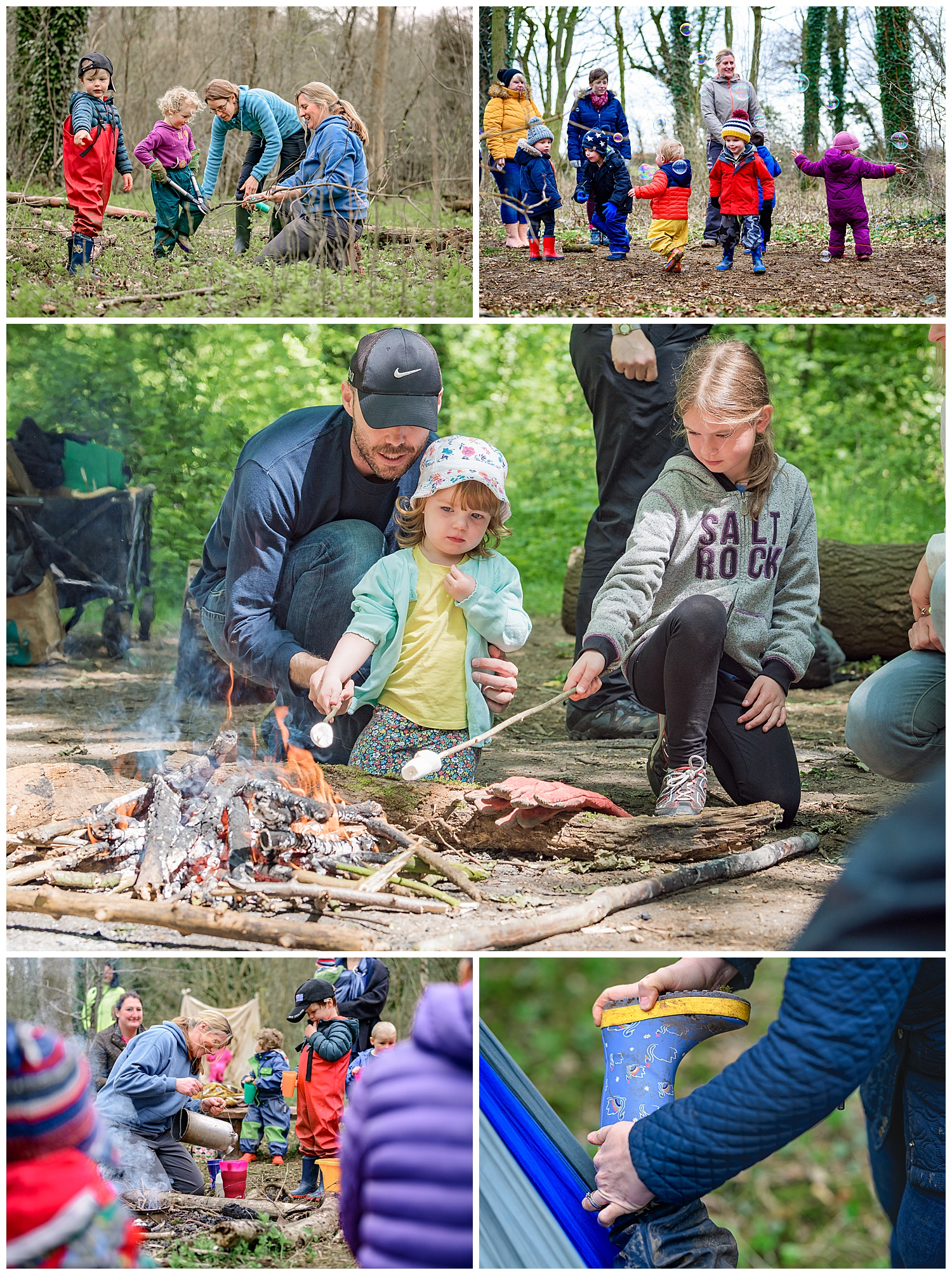 Montage of photos of children enjoying themselves at forest school including campfires, bubbles, wellies and branch cutting
