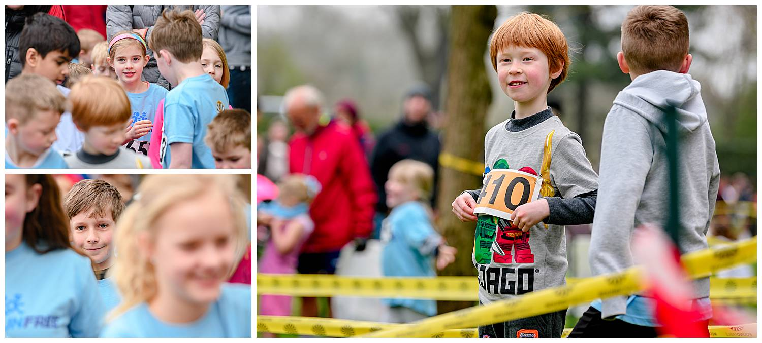 Children anxiously waiting to start a fun run