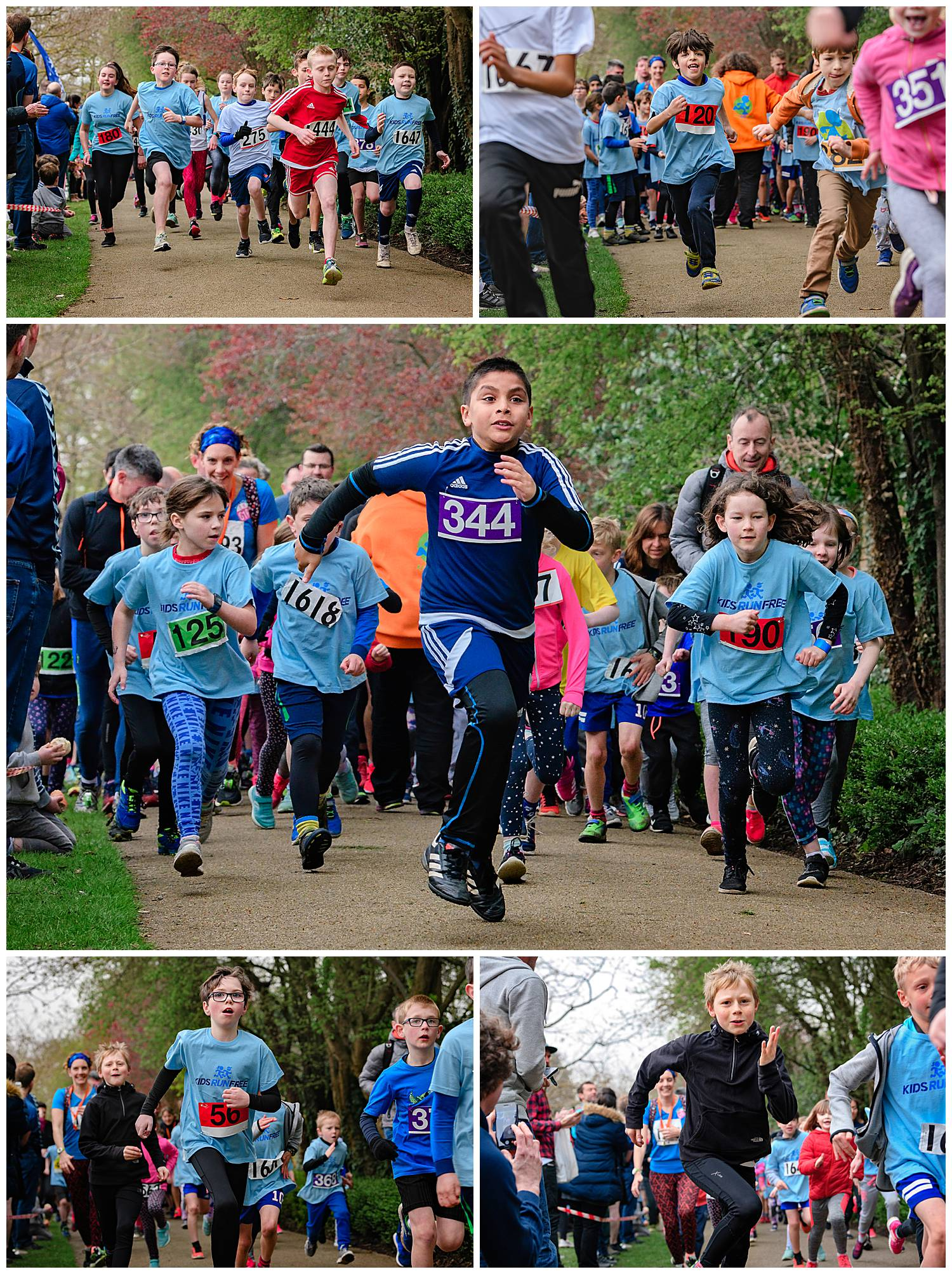 Montage of images of teenagers running in a children's fun run