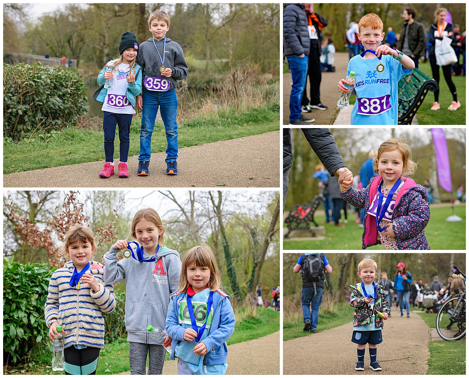 Montage of images of children showing off their running medals