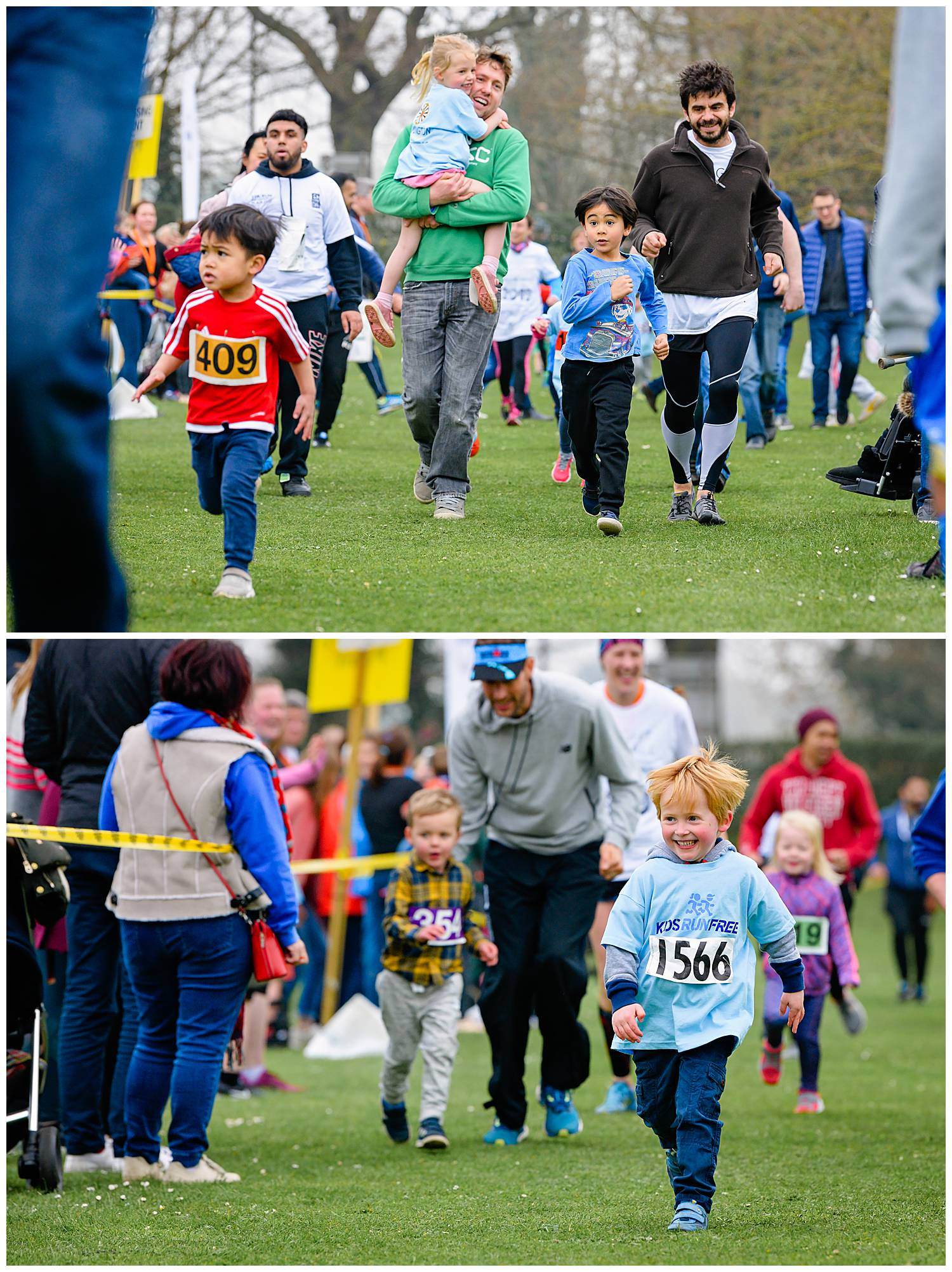 Two photos of smiling boys running in a fun run