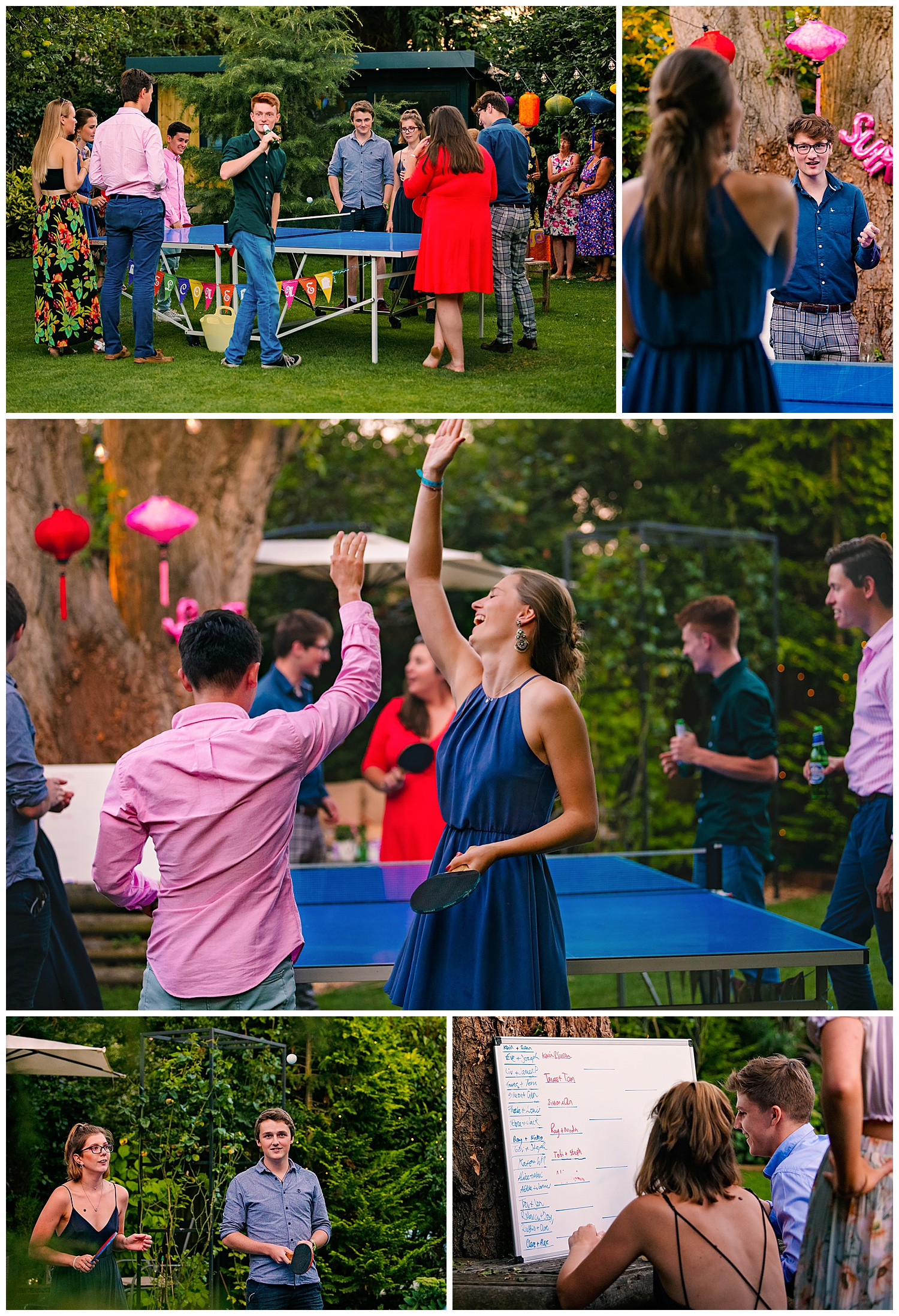 Birthday Party Photographer captures an array of images of 21 year olds playing table tennis outside at a party