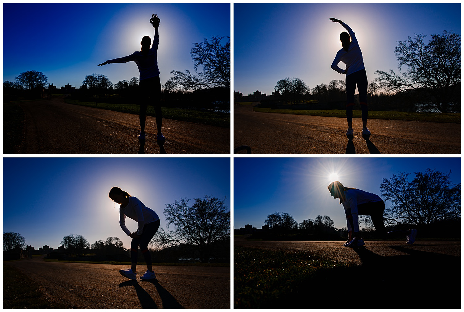 Montage of silhouette photos of a woman working out