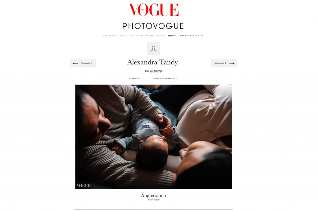 Screen shot of Vogue Italia website